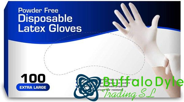 LATEX DISPOSABLE GLOVES POWDERED